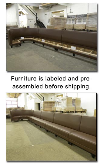 Furniture is labeled and preassembled before shipping
